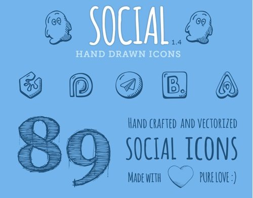 Social Hand Drawn Icons.