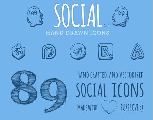 Icônes dessinées à la main sociale.