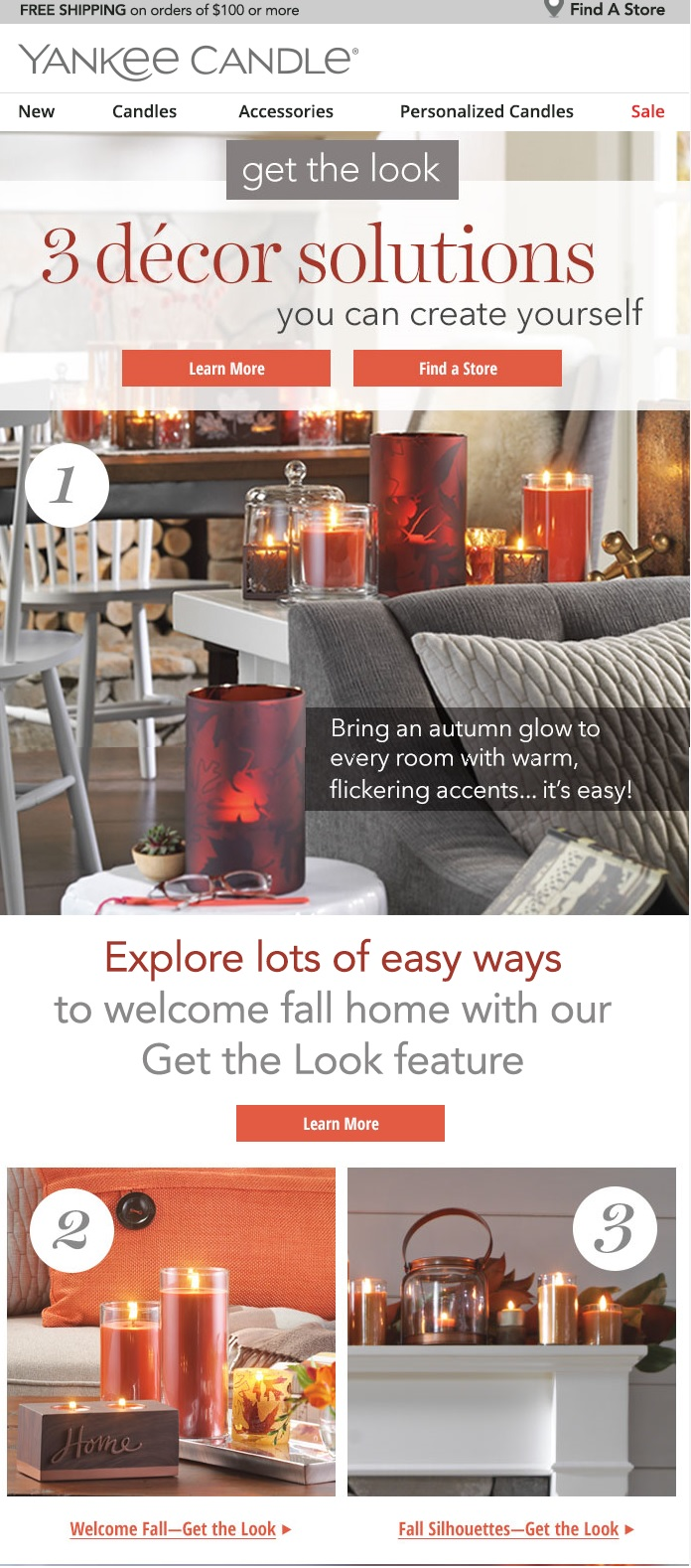 Yankee Candle recently changed its logo and email artwork for the fall and holiday seasons.