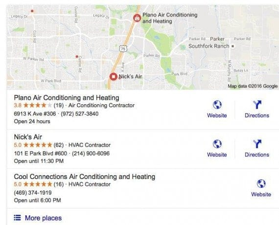 """Consumers that search on Google for """"Plano air conditioning repair,"""" for example, will receive results similar to these. Businesses with reviews stand out via the yellow stars."""