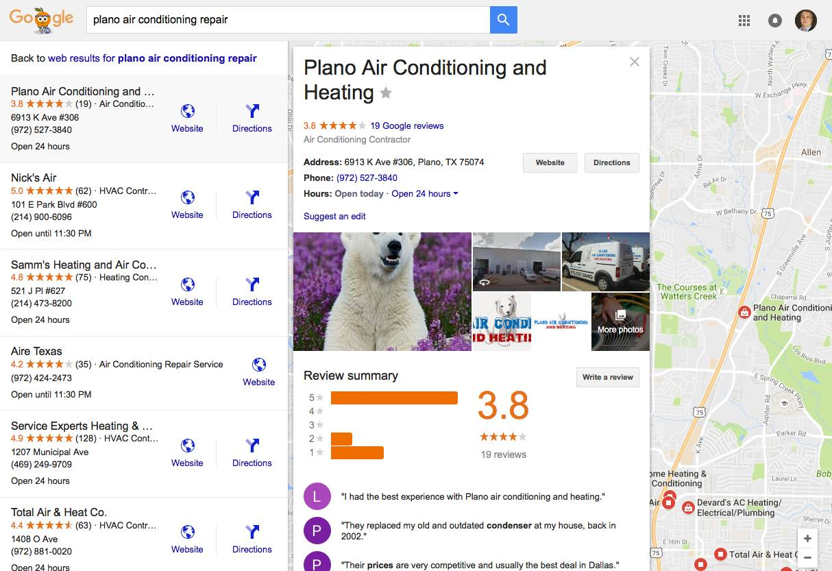 Verifying the information that Google has on your business will enable your to respond to reviews, and add extra, critical data, such as photos, hours, website URL, and more. In this example, Plano Air Conditioning and Heating has done that, to create a more complete profile for prospects.