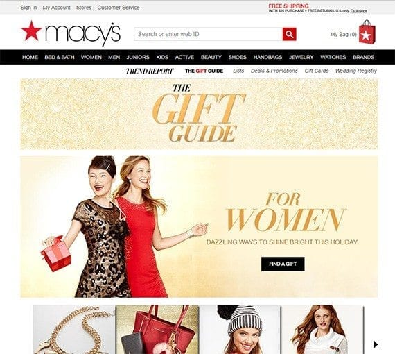 Christmas gift guides can take a few forms, including focusing almost exclusively on products like this example from Macy's.
