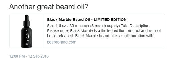 This is a summary Twitter Card from Beardbrand's website, notice the image and description are inline.