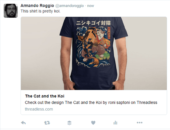 This is a Twitter Card for a Threadless t-shirt. Notice the large image with the description below replaces a simple link in the tweet.