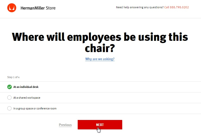 HermanMiller.com offers a chair selecting tool to help buyers.