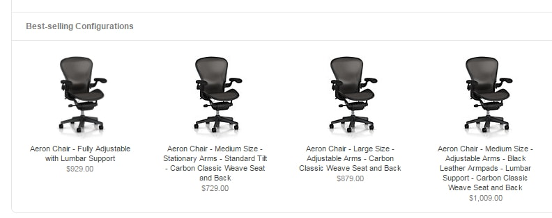 HermanMiller.com shows popular chair configurations to help buyers decide.