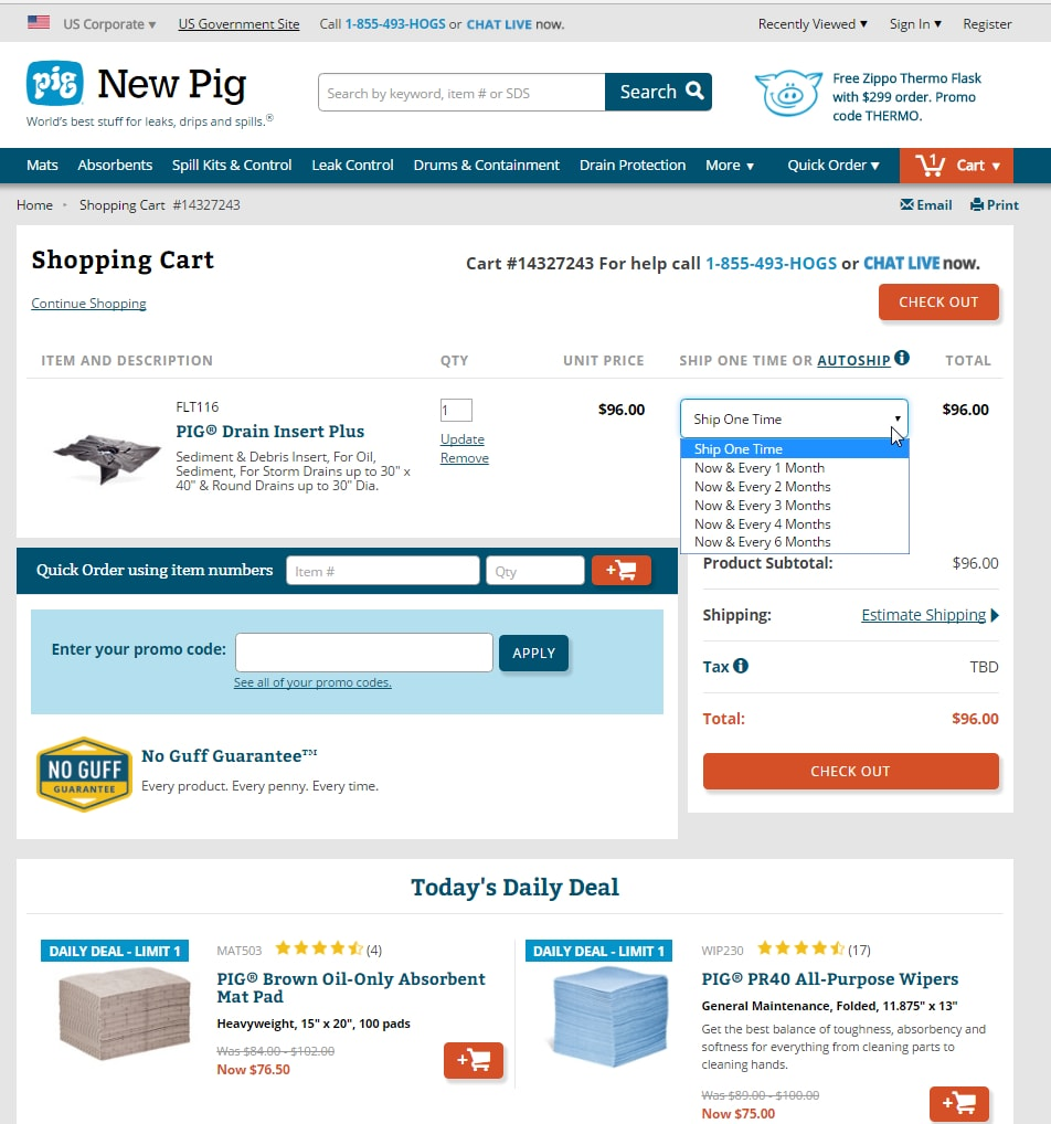 "New Pig's shopping cart page emphasizes the ""No Guff"" guarantee. The page uses color — red — to highlight checkout buttons and it features a one-time ""Today's Daily Deal"" at the bottom."