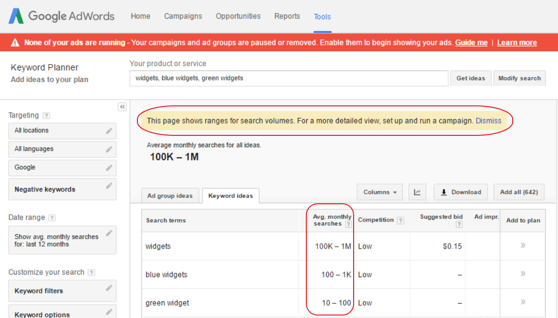 Google's Keyword Planner now shows ranges instead of detailed keyword data for accounts that don't meet minimum spend requirements.