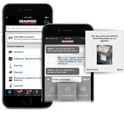 Grainger's mobile app allows buyers to send photos and talk to waiting agents, as well as scanning a barcode to quickly re-order the same product