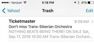 "Using all caps in a subject line is a bad idea. But caps in a pre-header can be effective, as shown in this example from Ticketmaster — ""NOTHING BEATS BEING THERE!."""