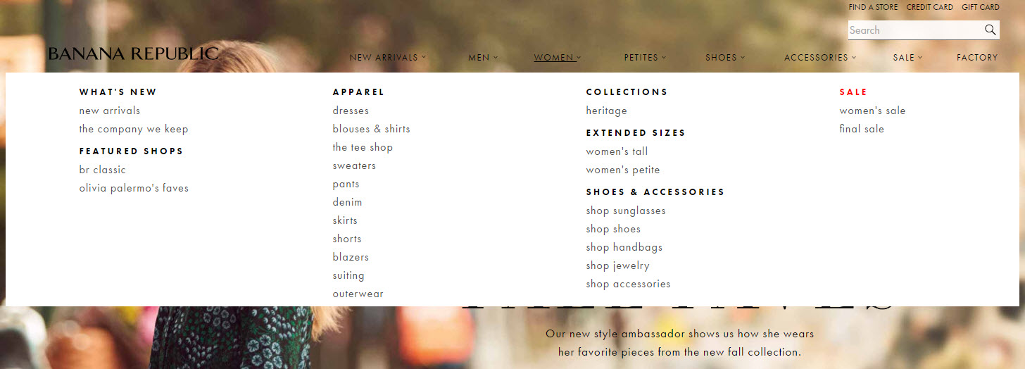 Banana Republic's mega-navigation offers deep links into the site.