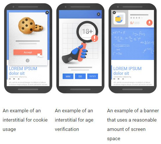 Examples of interstitials that would be acceptable after the January update, and not affect mobile rankings. <em>Source: Google Webmaster Central Blog.</em>