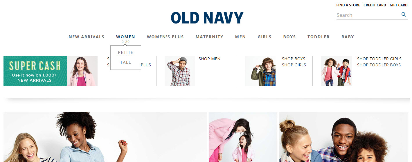 Old Navy's header navigation links solely to categories and a handful of size types.