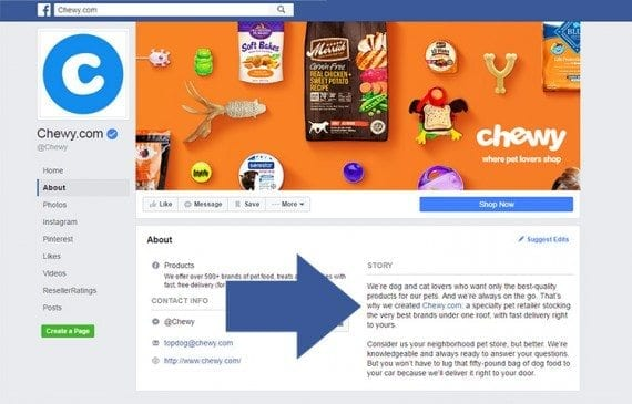 Chewy.com, a pet supply retailer, uses a blurb on its Facebook page.