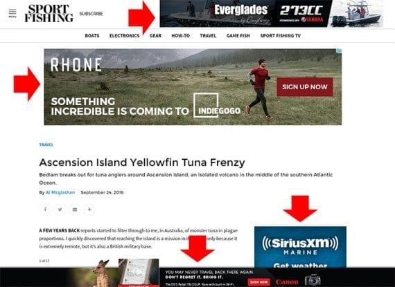 Sport Fishing magazine features digital ads on its site. These ads could help a related retailer drive web traffic to its online store.