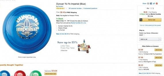 "Clicking ""Add to Cart"" for the Duncan Imperial Yo-Yo, automatically defaults to buying this product from ""Market Candles On Line,"" even though several other sellers offer the product — see ""Other Sellers on Amazon,"" at lower right. Click image to enlarge."