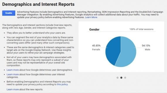 Update your Admin settings in Google Analytics to enable Demographics and Interests reporting.