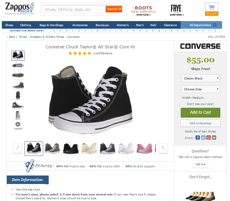 "Be sure to explain how a shoe fits compared to other sizes or shoe types, such as this example from Zappos at the bottom of the page: ""For men's sizes, please select 1/2 size down from your normal size."""