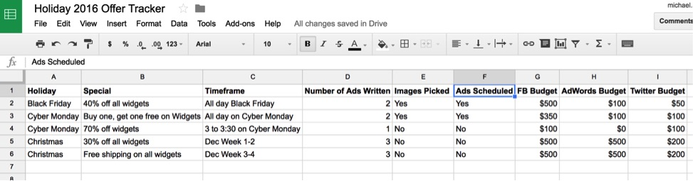 To help execute holiday social media campaigns, create a spreadsheet with the offers, their timing, the ad budget, and more.