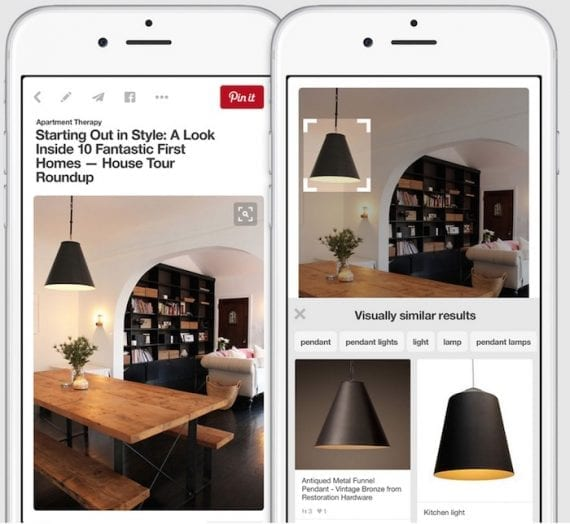 Pinterest launched a visual search feature that allows searching a part of a pinned photo for products.