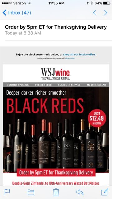 """This email from The Wall Street Journal Wine Club reminds recipients of the deadline: """"Order by 5pm ET for Thanksgiving Delivery."""""""