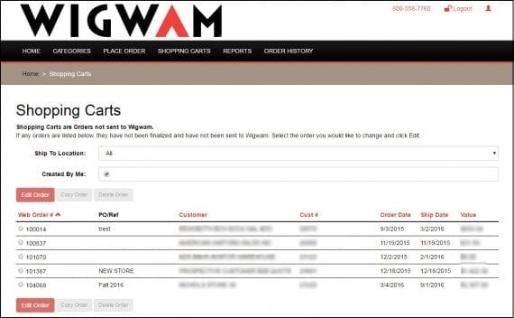 Wigwam Socks, producător de șosete de înaltă calitate, are un portal web unde reprezentanții de vânzări pot plasa comenzi în numele clienților.