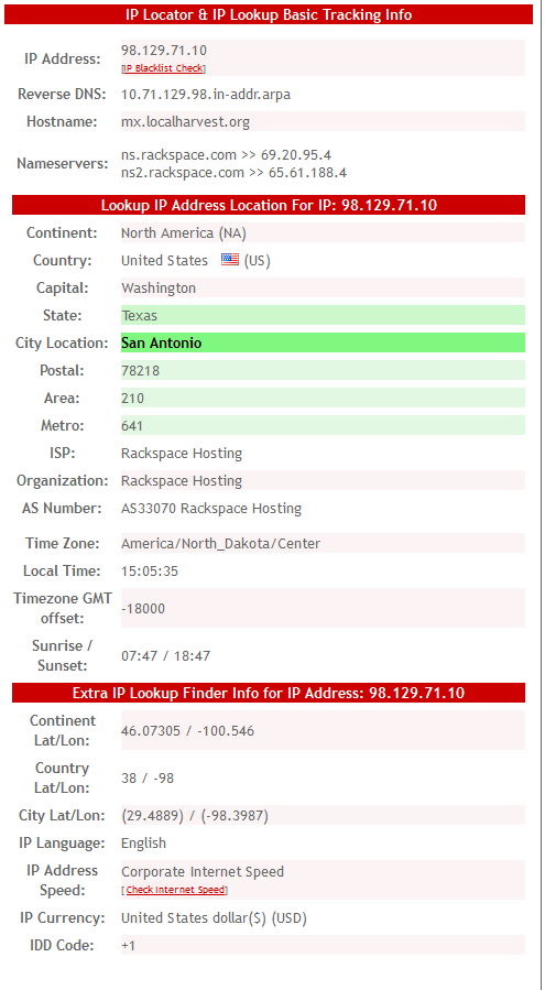 IP-Tracker.org also reports the domain (hostname) is LocalHarvest.org. IP-tracker.org also reports the email name servers as Rackspace Hosting, which is located near San Antonio. Click image to enlarge.