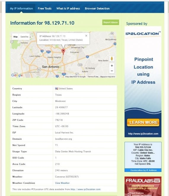 LiveIPmap.com reports that the hostname for the IP address is LocalHarverst.org, and that the server is located in Windcrest, Texas, near San Antonio.