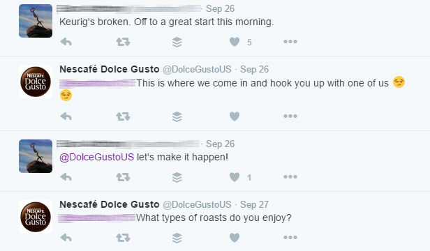 This consumer, on Twitter, mentions a broken Keurig machine. Dolce Gusto, a Keurig competitor, offered to replace it.