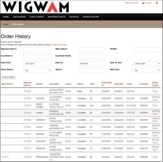 Repetările de vânzări ale companiei Wigwam pot să caute starea comenzilor online și offline prin portalul de comerț electronic.