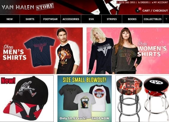 Van Halen Store's home page uses cards to spotlight the most popular categories rather than individual products. Since the most sought-after products for musical bands are t-shirts, this layout makes sense.
