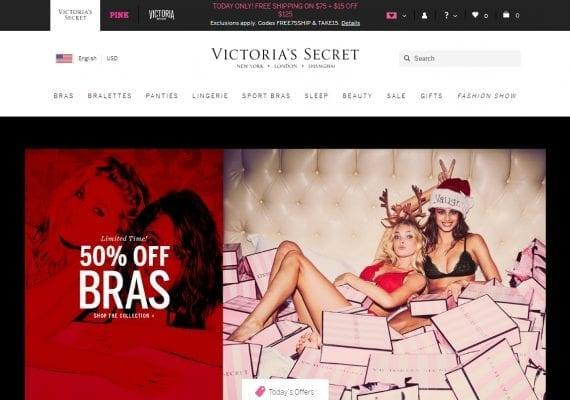 Victoria's Secret simplifies the home page by focusing on just one or two deals.