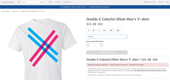 While many online retailers sell t-shirts, no other retailer sells this particular design.