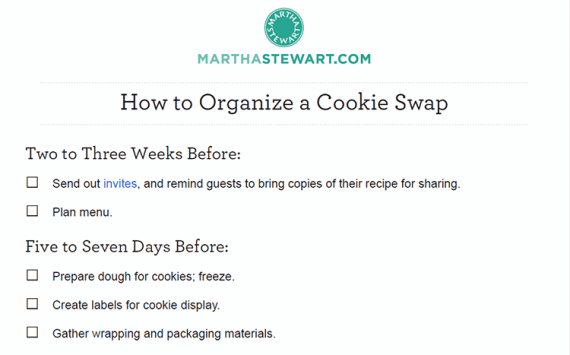 Need to know how to organize a cookie swap? There is a checklist for that.