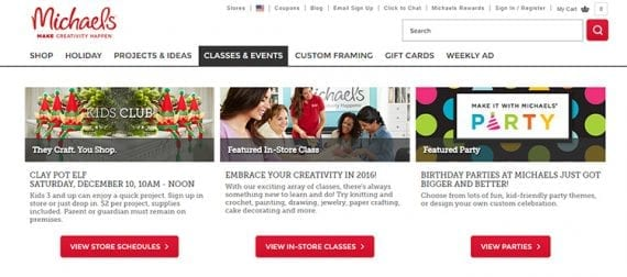 Michael's offers classes that help its customers learn new skills.
