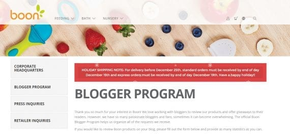 Bloggers can fill out a form to be considered for the Boon blogger program.