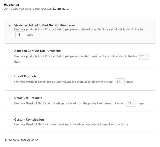 """The default of """"Viewed or Added to Cart But Not Purchased"""" will work good as a standard remarketing option for your abandon cart group."""