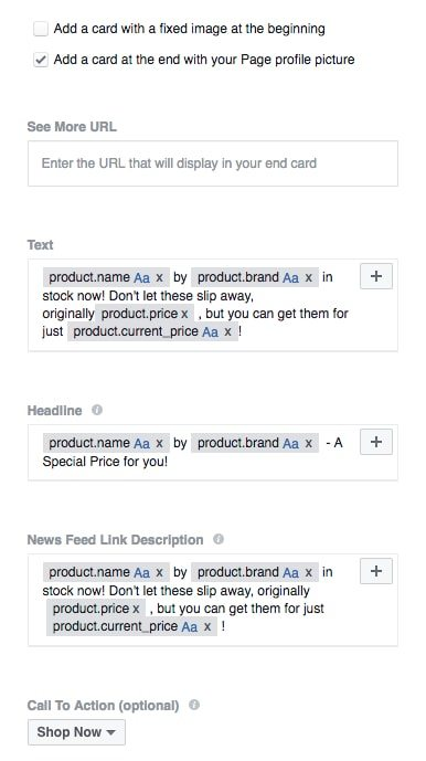 The main part of a Dynamic Product Ad template: the dynamic text.