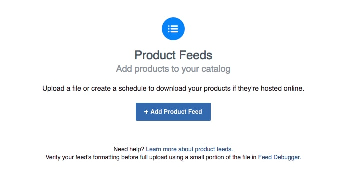 "Click ""+ Add Product Feed."""