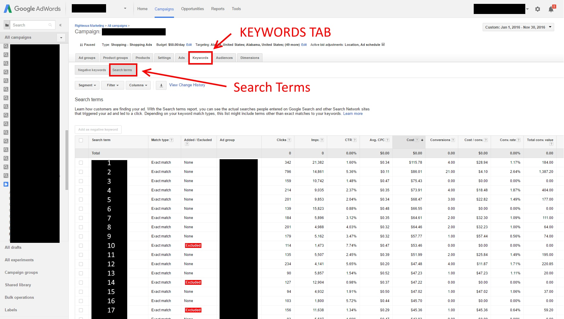 "Click the ""Keywords"" tab and select ""Search Terms"" to look at queries in a campaign."