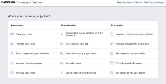 "The Facebook ads manager, at ""Campaign Creation,"" allows advertisers to select objectives (goals) for their campaigns."