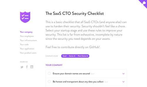The SaaS CTO Security Checklist.