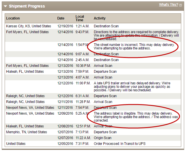 UPS tracking report shows an address issue, but who was to blame?