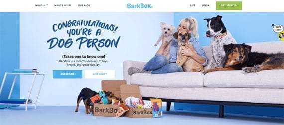 BarkBox is an example of an ecommerce subscription service that helps shoppers discover new products.