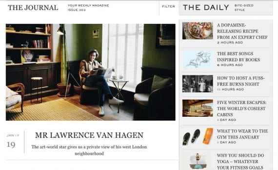The Journal is a weekly digital publication from Mr. Porter. It has interesting and entertaining articles likely to appeal to Mr. Porter customers.