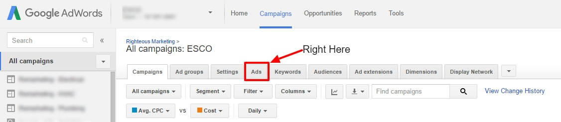 Navigate to the Ads tab in your AdWords account.