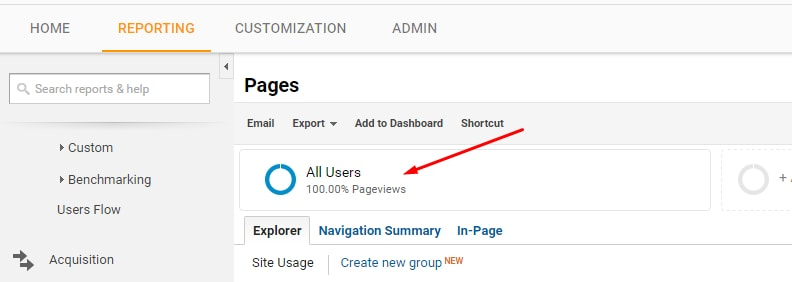 "Click on ""All Users"" at the top-center of the reports in Google Analytics to open Advanced Segments"