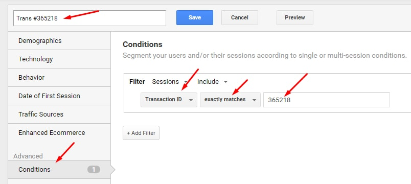 """Select """"Transaction ID"""" for the Filter and enter the Transaction ID in the box, then save."""