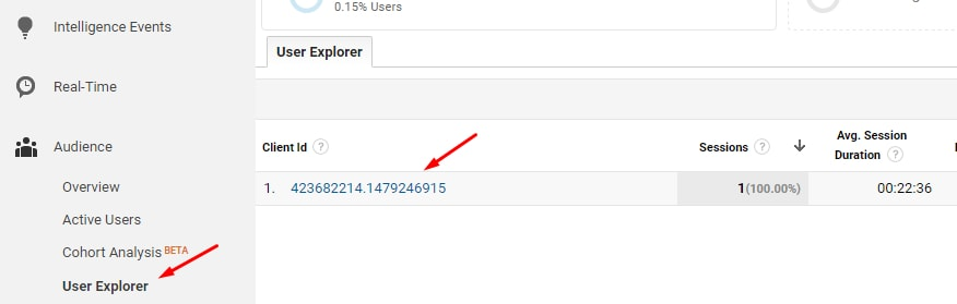 "To see the sequential steps and timing for each user, go to ""Audience > User Explorer."""