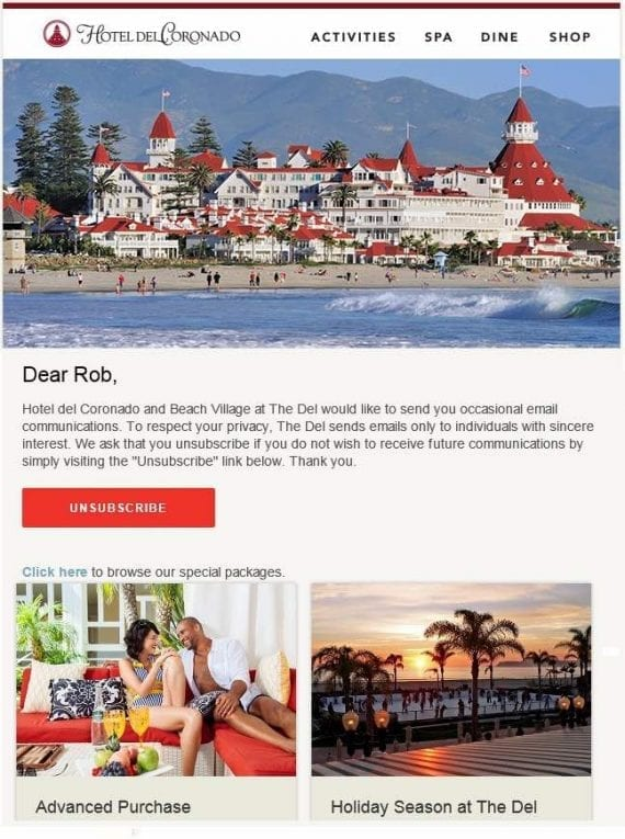 """This """"permission pass"""" email, from Hotel del Coronado, asks the recipient to unsubscribe if not interested in future communications."""